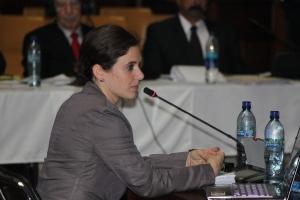 Paloma Soria en declaración como perito experta en juicio contra Ríos Monnt. Foto de Ana María Cofino